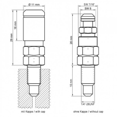 Entlüftungsventil 1/4 Zoll-28UNFx16mm aus Stahl