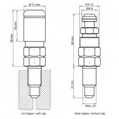 4er Set Entlüftungsventil M8x1.25x22mm aus Stahl