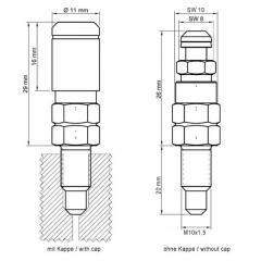 4er Set Entlüftungsventil M10x1.5x20mm aus Stahl